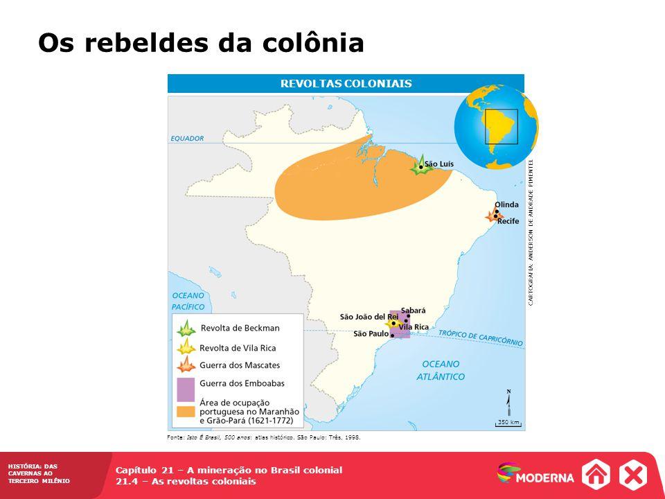 HISTÓRIA: DAS CAVERNAS AO TERCEIRO MILÊNIO Capítulo 21 – A mineração no Brasil colonial 21.4 – As revoltas coloniais Os rebeldes da colônia REVOLTAS C