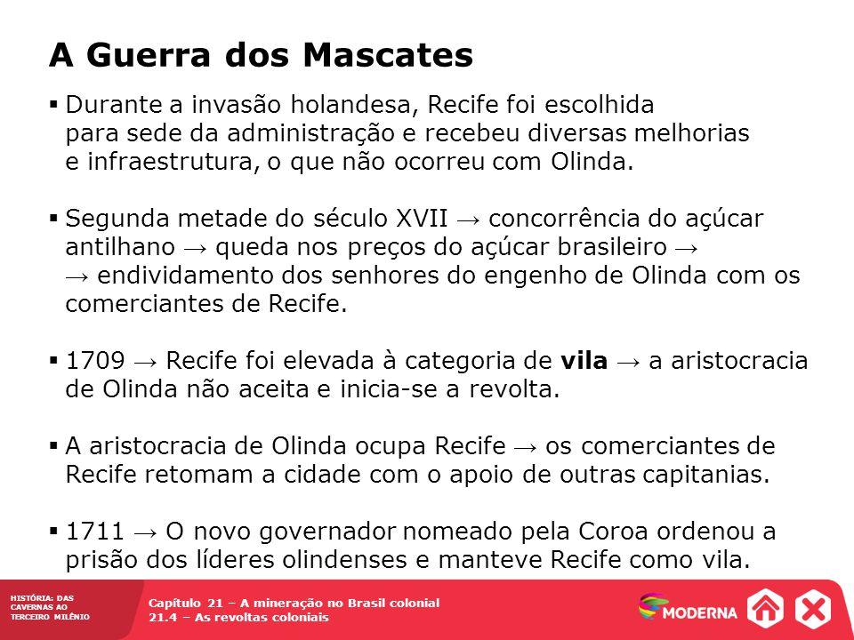 HISTÓRIA: DAS CAVERNAS AO TERCEIRO MILÊNIO Capítulo 21 – A mineração no Brasil colonial 21.4 – As revoltas coloniais  Durante a invasão holandesa, Re