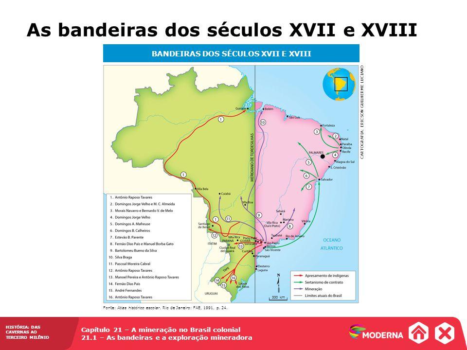 HISTÓRIA: DAS CAVERNAS AO TERCEIRO MILÊNIO Capítulo 21 – A mineração no Brasil colonial 21.1 – As bandeiras e a exploração mineradora As bandeiras dos
