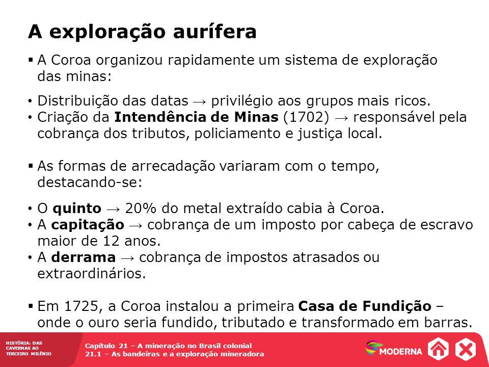 HISTÓRIA: DAS CAVERNAS AO TERCEIRO MILÊNIO Capítulo 21 – A mineração no Brasil colonial 21.1 – As bandeiras e a exploração mineradora  A Coroa organi