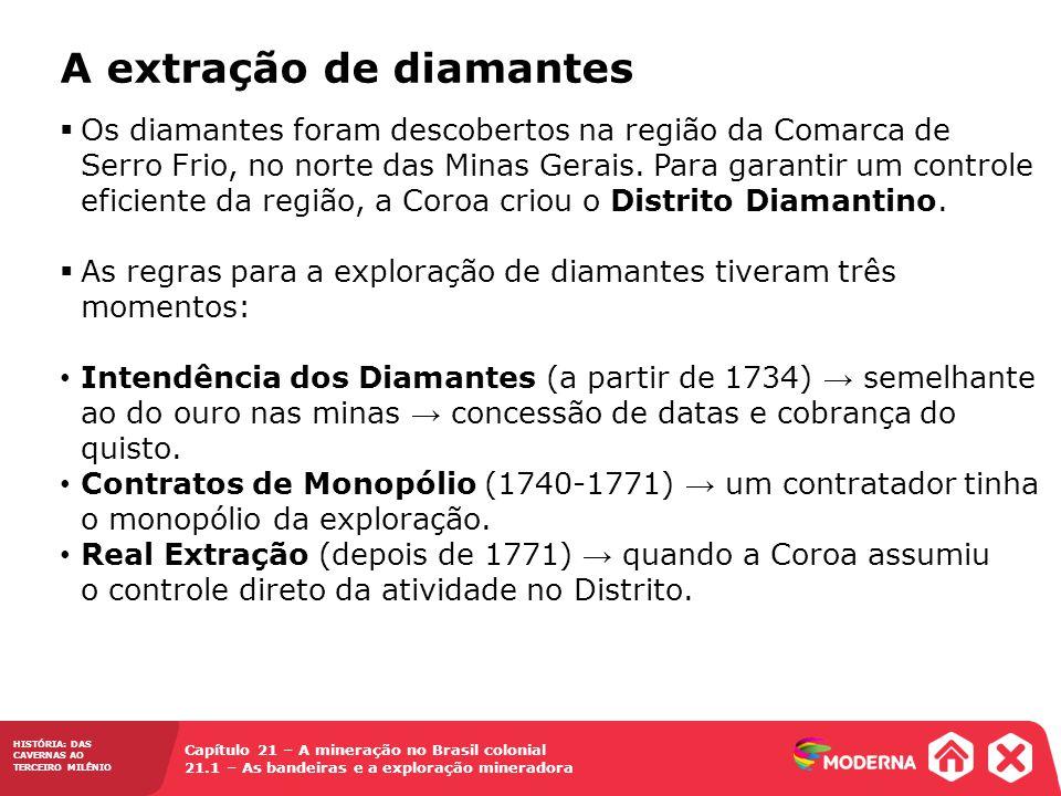 HISTÓRIA: DAS CAVERNAS AO TERCEIRO MILÊNIO Capítulo 21 – A mineração no Brasil colonial 21.1 – As bandeiras e a exploração mineradora  Os diamantes f