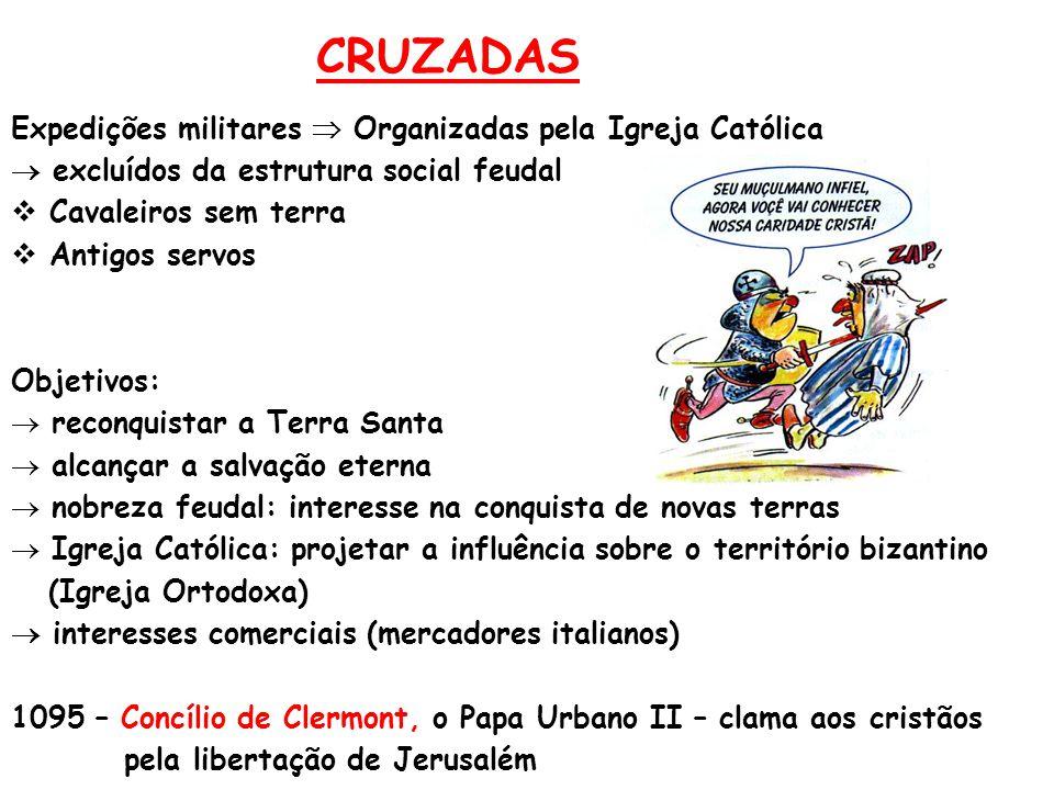 CRUZADAS Expedições militares  Organizadas pela Igreja Católica  excluídos da estrutura social feudal  Cavaleiros sem terra  Antigos servos Objeti