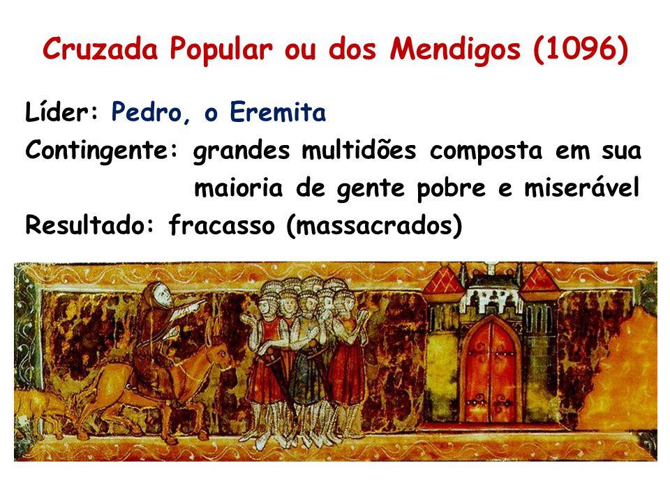 Cruzada Popular ou dos Mendigos (1096) Líder: Pedro, o Eremita Contingente: grandes multidões composta em sua maioria de gente pobre e miserável Resultado: fracasso (massacrados)