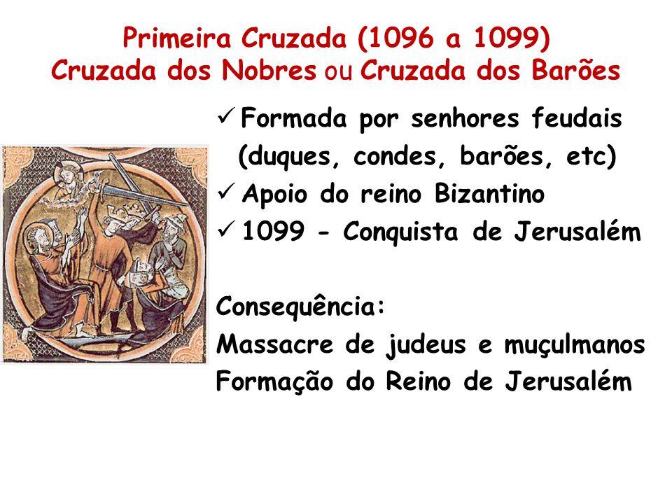Primeira Cruzada (1096 a 1099) Cruzada dos Nobres ou Cruzada dos Barões Formada por senhores feudais (duques, condes, barões, etc) Apoio do reino Bizantino 1099 - Conquista de Jerusalém Consequência: Massacre de judeus e muçulmanos Formação do Reino de Jerusalém
