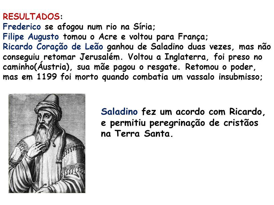 RESULTADOS: Frederico se afogou num rio na Síria; Filipe Augusto tomou o Acre e voltou para França; Ricardo Coração de Leão ganhou de Saladino duas ve
