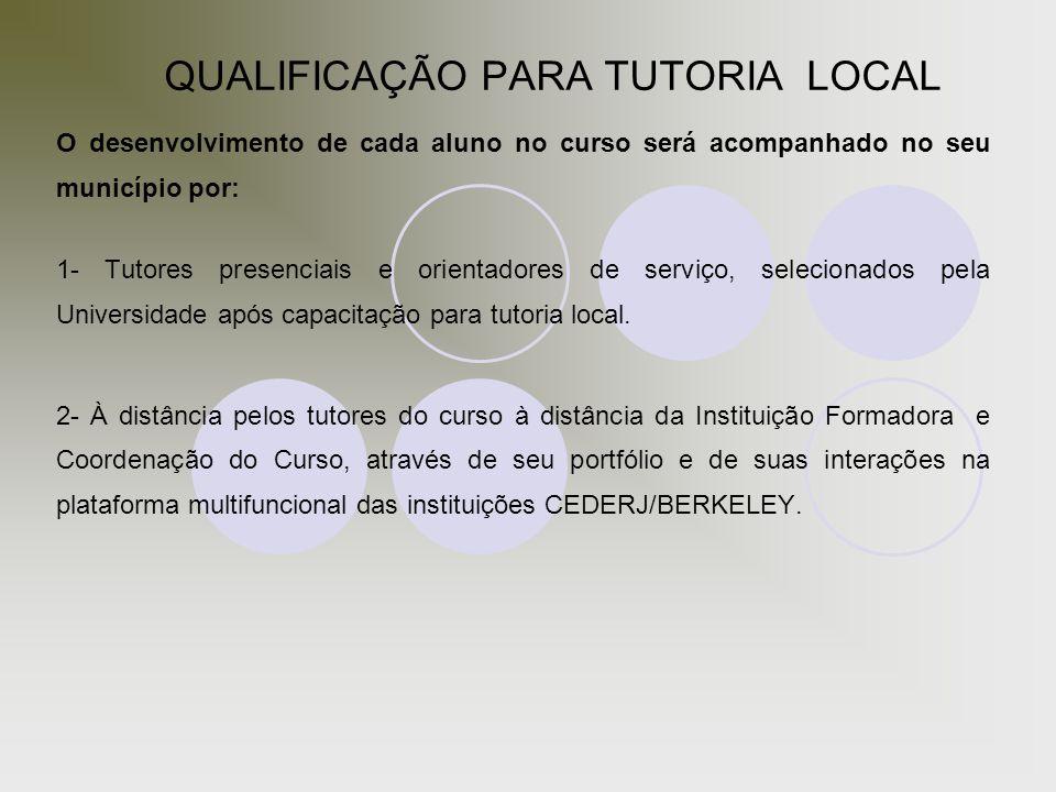 QUALIFICAÇÃO PARA TUTORIA LOCAL O desenvolvimento de cada aluno no curso será acompanhado no seu município por: 1- Tutores presenciais e orientadores