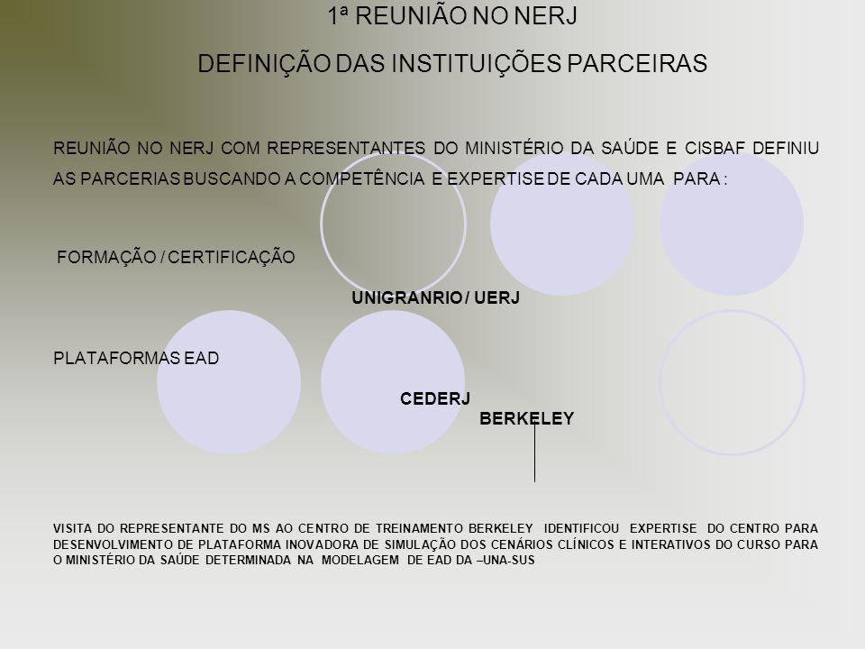 1ª REUNIÃO NO NERJ DEFINIÇÃO DAS INSTITUIÇÕES PARCEIRAS REUNIÃO NO NERJ COM REPRESENTANTES DO MINISTÉRIO DA SAÚDE E CISBAF DEFINIU AS PARCERIAS BUSCAN