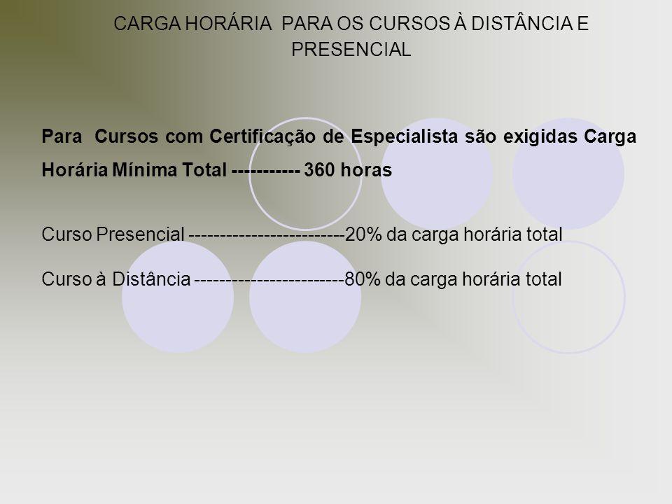 CARGA HORÁRIA PARA OS CURSOS À DISTÂNCIA E PRESENCIAL Para Cursos com Certificação de Especialista são exigidas Carga Horária Mínima Total -----------