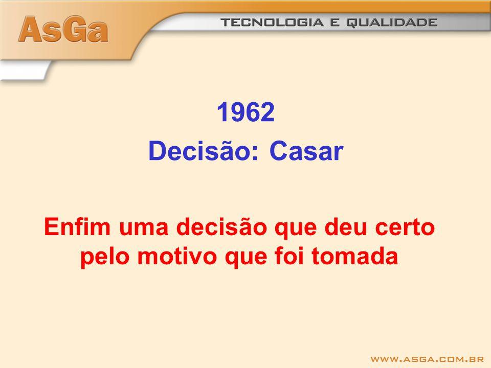 1962 Decisão: Casar Enfim uma decisão que deu certo pelo motivo que foi tomada
