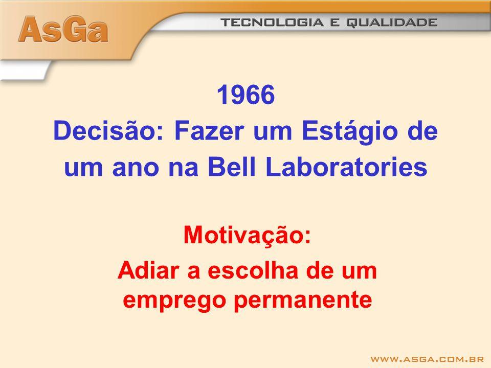 1966 Decisão: Fazer um Estágio de um ano na Bell Laboratories Motivação: Adiar a escolha de um emprego permanente