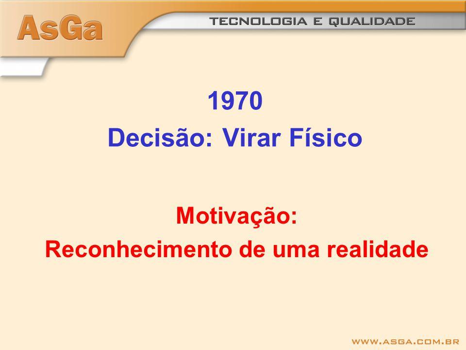 1970 Decisão: Virar Físico Motivação: Reconhecimento de uma realidade