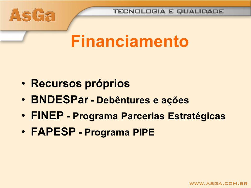 Financiamento Recursos próprios BNDESPar - Debêntures e ações FINEP - Programa Parcerias Estratégicas FAPESP - Programa PIPE