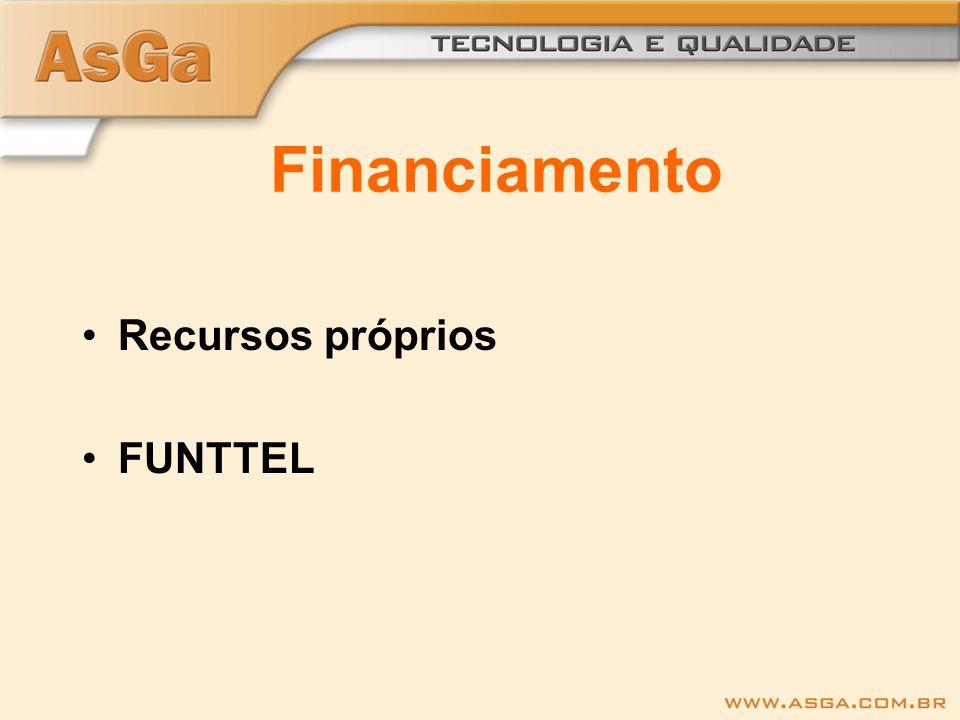 Financiamento Recursos próprios FUNTTEL