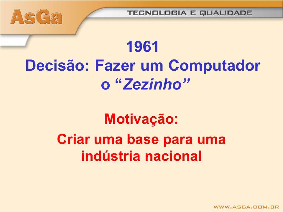 1961 Decisão: Fazer um Computador o Zezinho Motivação: Criar uma base para uma indústria nacional