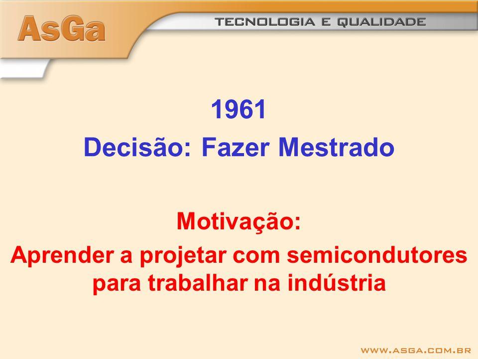 1961 Decisão: Fazer Mestrado Motivação: Aprender a projetar com semicondutores para trabalhar na indústria