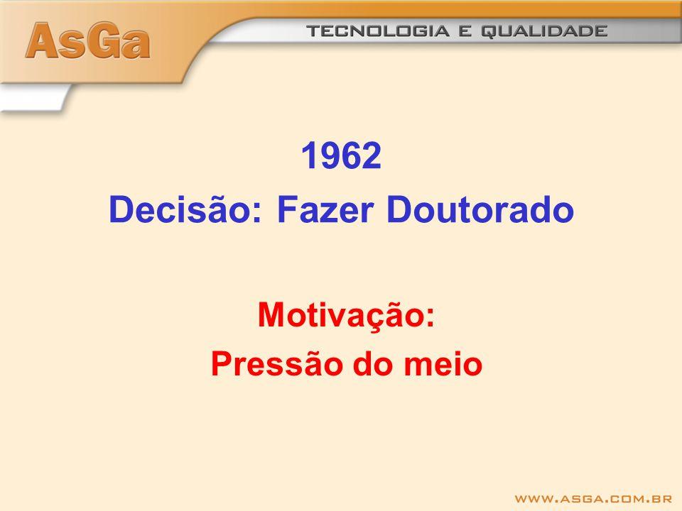 1962 Decisão: Fazer Doutorado Motivação: Pressão do meio