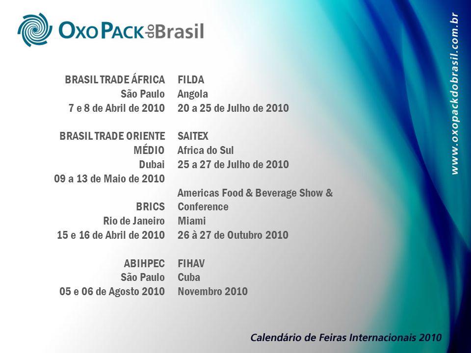 BRASIL TRADE ÁFRICA São Paulo 7 e 8 de Abril de 2010 BRASIL TRADE ORIENTE MÉDIO Dubai 09 a 13 de Maio de 2010 BRICS Rio de Janeiro 15 e 16 de Abril de