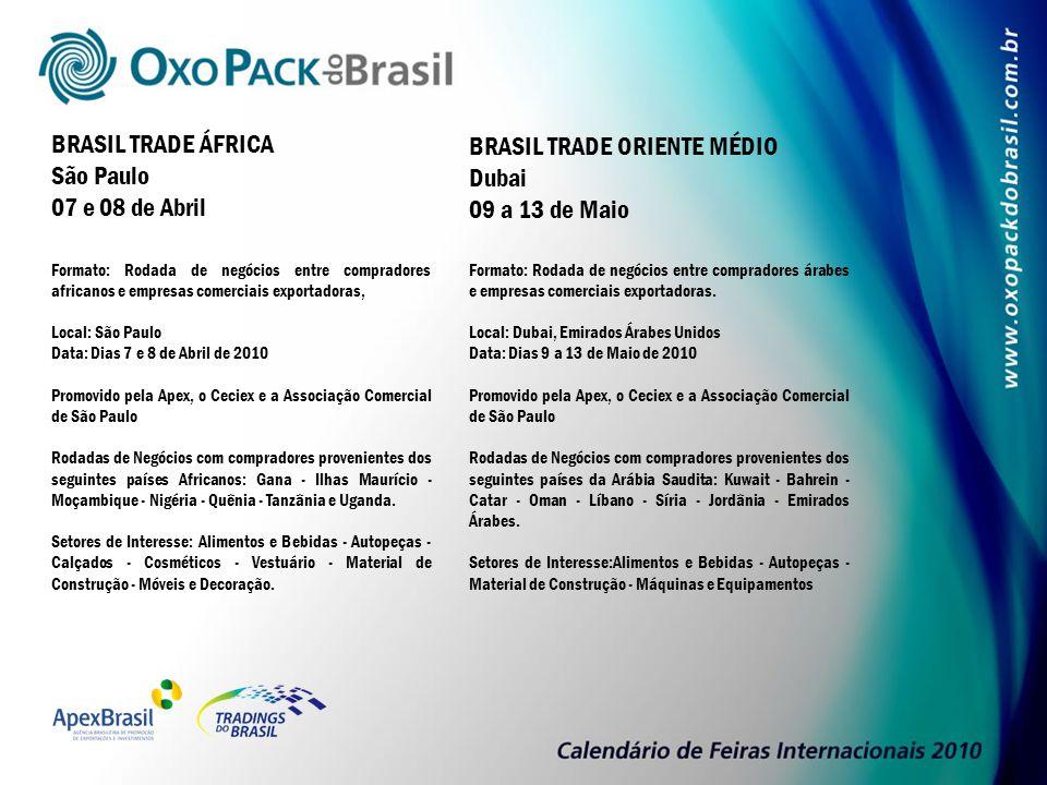 Formato: Rodada de negócios entre compradores africanos e empresas comerciais exportadoras, Local: São Paulo Data: Dias 7 e 8 de Abril de 2010 Promovi