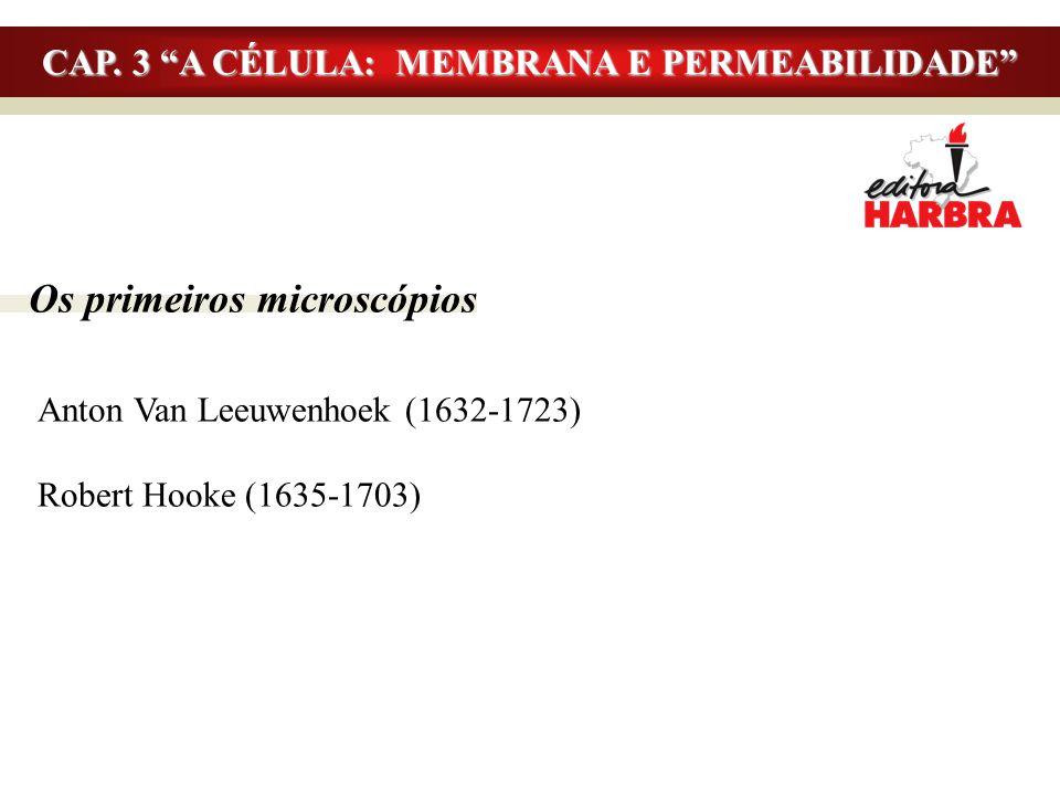 """Os primeiros microscópios Anton Van Leeuwenhoek (1632-1723) Robert Hooke (1635-1703) CAP. 3 """"A CÉLULA: MEMBRANA E PERMEABILIDADE"""""""