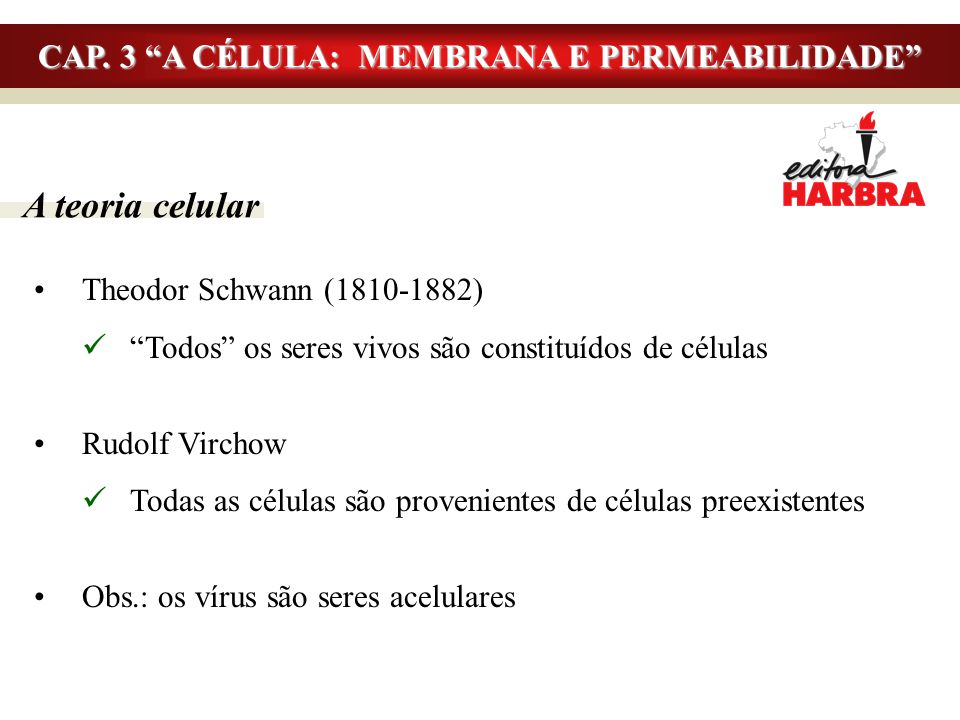 """A teoria celular Theodor Schwann (1810-1882) """"Todos"""" os seres vivos são constituídos de células Rudolf Virchow Todas as células são provenientes de cé"""