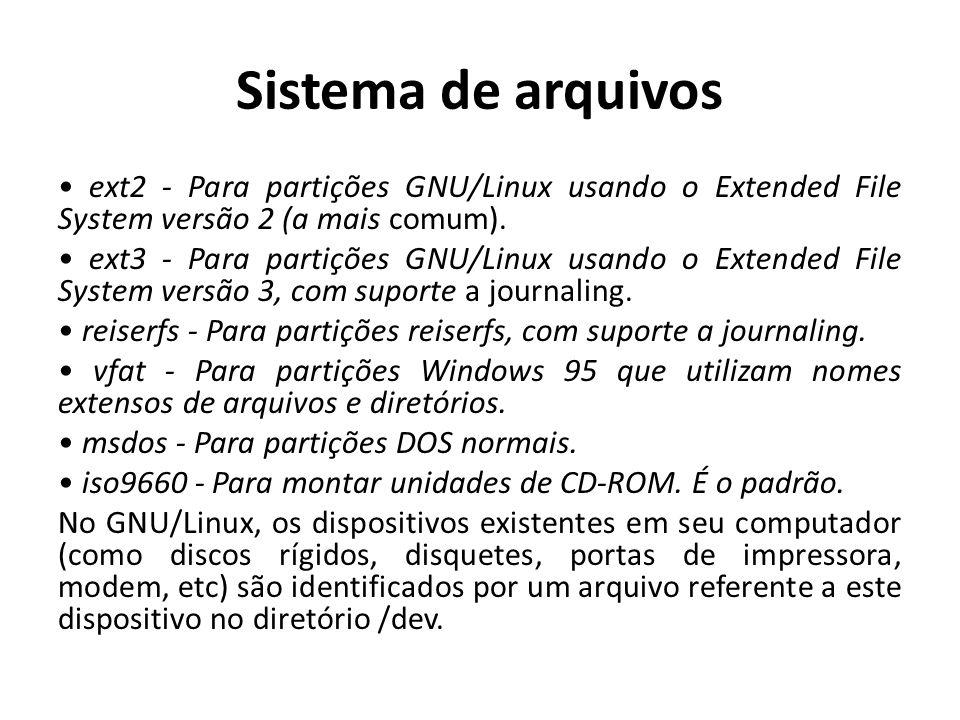 Sistema de arquivos ext2 - Para partições GNU/Linux usando o Extended File System versão 2 (a mais comum). ext3 - Para partições GNU/Linux usando o Ex