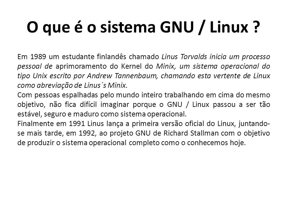 O que é o sistema GNU / Linux ? Em 1989 um estudante finlandês chamado Linus Torvalds inicia um processo pessoal de aprimoramento do Kernel do Minix,