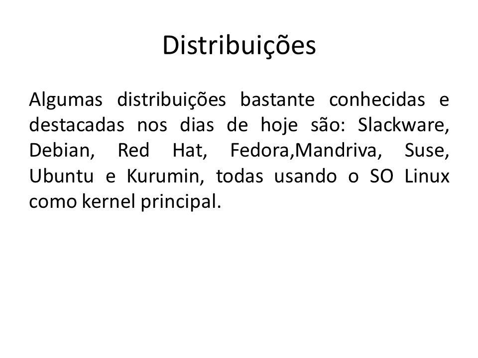 Distribuições Algumas distribuições bastante conhecidas e destacadas nos dias de hoje são: Slackware, Debian, Red Hat, Fedora,Mandriva, Suse, Ubuntu e