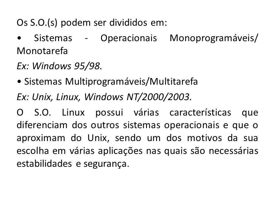Os S.O.(s) podem ser divididos em: Sistemas - Operacionais Monoprogramáveis/ Monotarefa Ex: Windows 95/98. Sistemas Multiprogramáveis/Multitarefa Ex:
