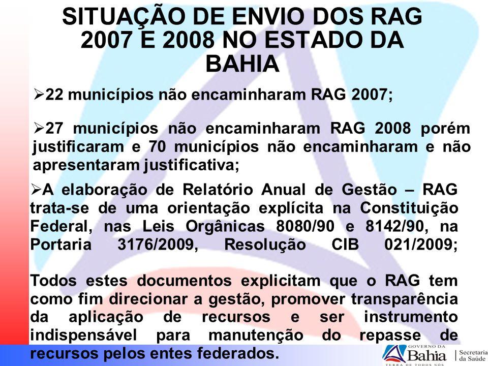  22 municípios não encaminharam RAG 2007; SITUAÇÃO DE ENVIO DOS RAG 2007 E 2008 NO ESTADO DA BAHIA  A elaboração de Relatório Anual de Gestão – RAG trata-se de uma orientação explícita na Constituição Federal, nas Leis Orgânicas 8080/90 e 8142/90, na Portaria 3176/2009, Resolução CIB 021/2009; Todos estes documentos explicitam que o RAG tem como fim direcionar a gestão, promover transparência da aplicação de recursos e ser instrumento indispensável para manutenção do repasse de recursos pelos entes federados.