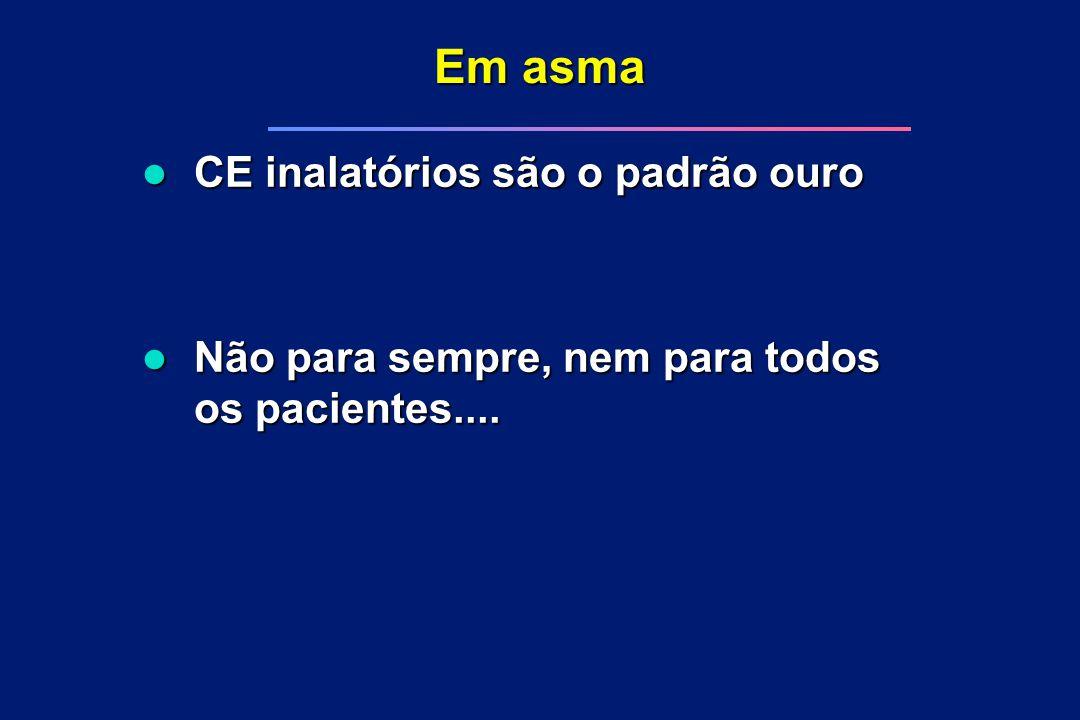 Em asma l CE inalatórios são o padrão ouro l Não para sempre, nem para todos os pacientes....