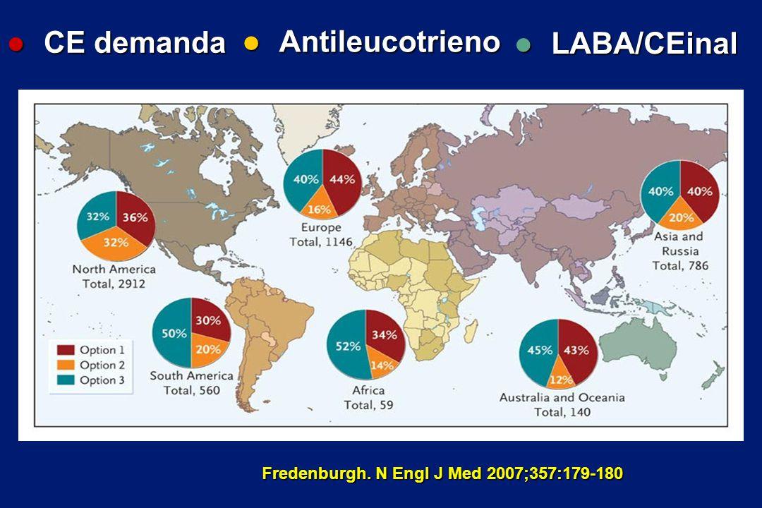 Fredenburgh. N Engl J Med 2007;357:179-180 l CE demanda l Antileucotrieno l LABA/CEinal
