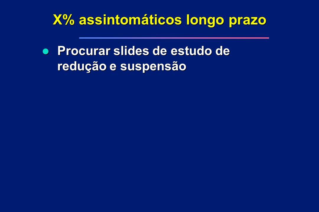 X% assintomáticos longo prazo l Procurar slides de estudo de redução e suspensão