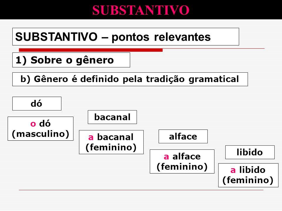 1) Sobre o gênero SUBSTANTIVO – pontos relevantes b) Gênero é definido pela tradição gramatical dó alface bacanal libido o dó (masculino) a alface (fe