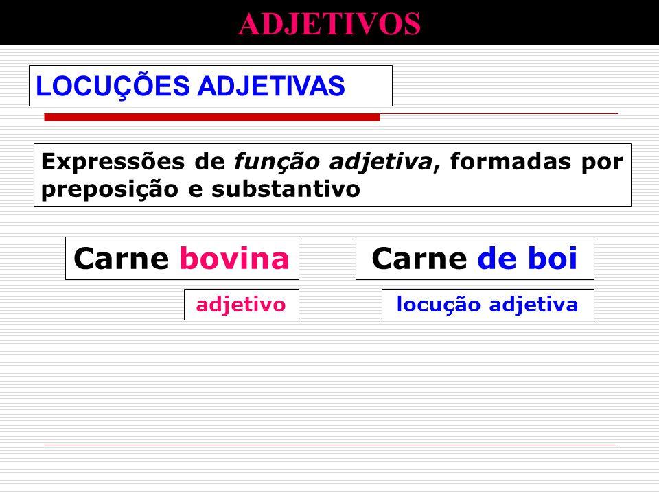 Expressões de função adjetiva, formadas por preposição e substantivo LOCUÇÕES ADJETIVAS ADJETIVOS Carne bovinaCarne de boi adjetivolocução adjetiva