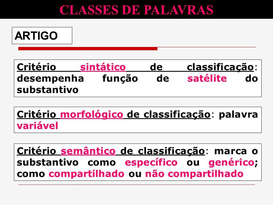 Critério sintático de classificação: desempenha função de satélite do substantivo Critério morfológico de classificação: palavra variável ARTIGO CLASS