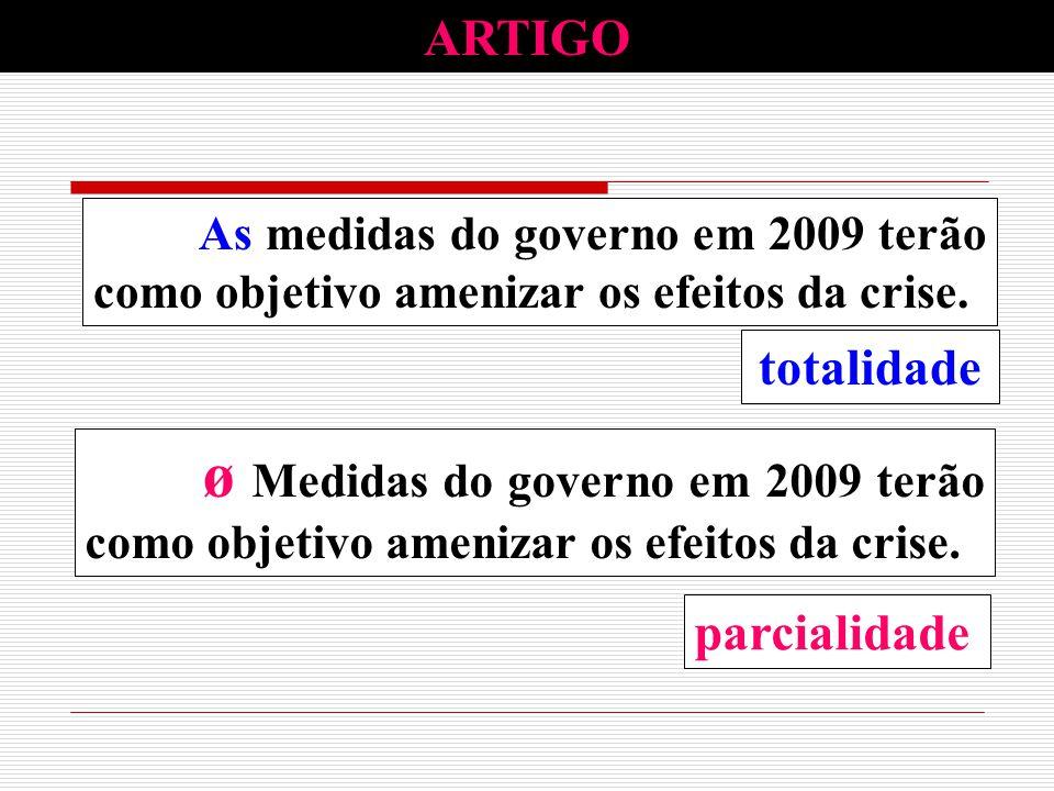 totalidade ø Medidas do governo em 2009 terão como objetivo amenizar os efeitos da crise. parcialidade ARTIGO ø Medidas do governo em 2009 terão como
