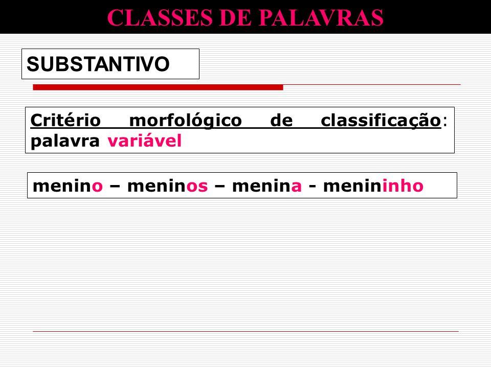 Critério morfológico de classificação: palavra variável SUBSTANTIVO CLASSES DE PALAVRAS menino – meninos – menina - menininho