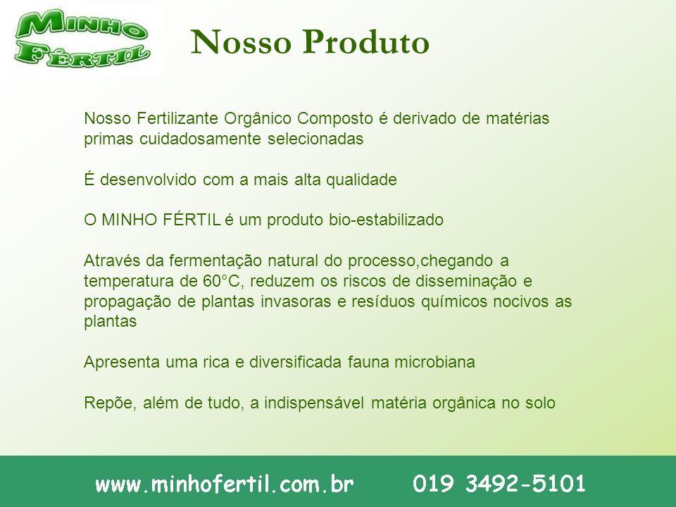 Nosso Produto Nosso Fertilizante Orgânico Composto é derivado de matérias primas cuidadosamente selecionadas É desenvolvido com a mais alta qualidade
