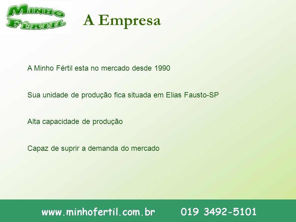 A Minho Fértil esta no mercado desde 1990 Sua unidade de produção fica situada em Elias Fausto-SP Alta capacidade de produção Capaz de suprir a demand