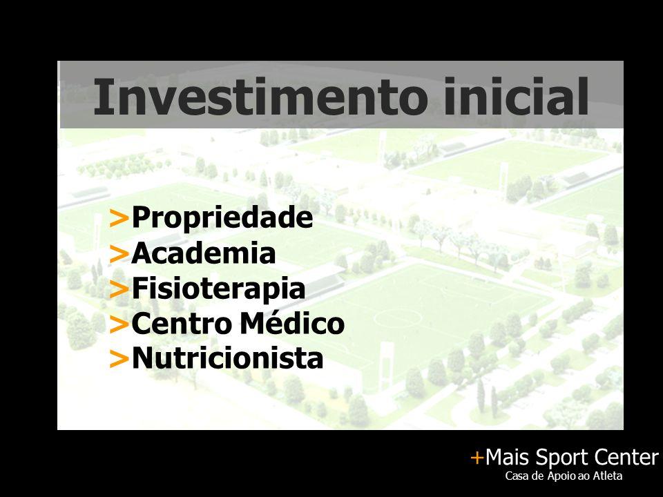 +Mais Sport Center Casa de Apoio ao Atleta Investimento inicial >Propriedade >Academia >Fisioterapia >Centro Médico >Nutricionista