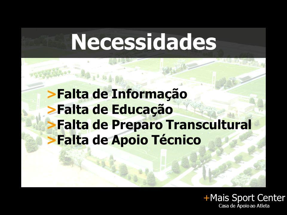 +Mais Sport Center Casa de Apoio ao Atleta Necessidades >Falta de Informação >Falta de Educação >Falta de Preparo Transcultural >Falta de Apoio Técnico