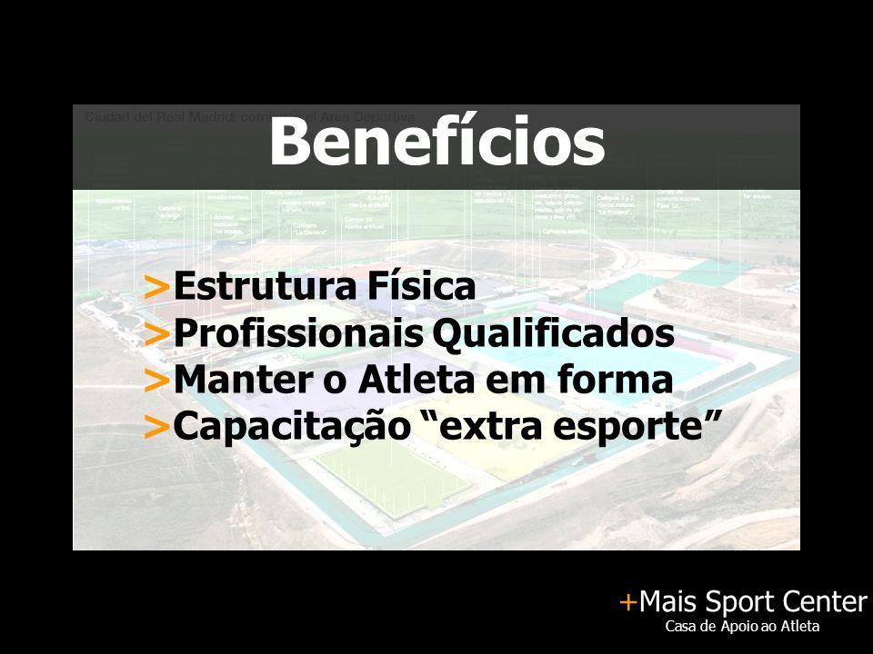 """+Mais Sport Center Casa de Apoio ao Atleta Benefícios >Estrutura Física >Profissionais Qualificados >Manter o Atleta em forma >Capacitação """"extra espo"""