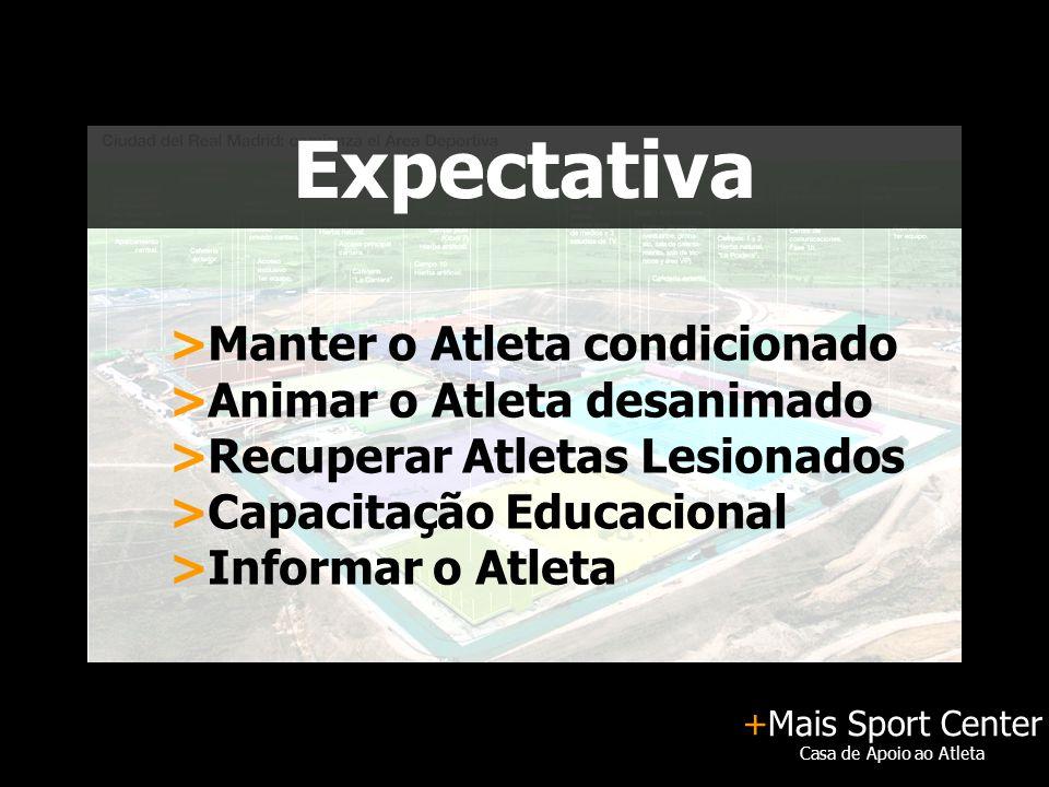 +Mais Sport Center Casa de Apoio ao Atleta Expectativa >Manter o Atleta condicionado >Animar o Atleta desanimado >Recuperar Atletas Lesionados >Capaci