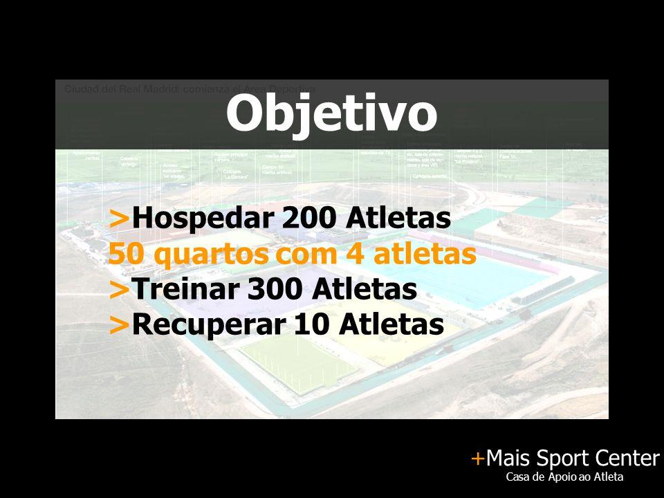 +Mais Sport Center Casa de Apoio ao Atleta Objetivo >Hospedar 200 Atletas 50 quartos com 4 atletas >Treinar 300 Atletas >Recuperar 10 Atletas