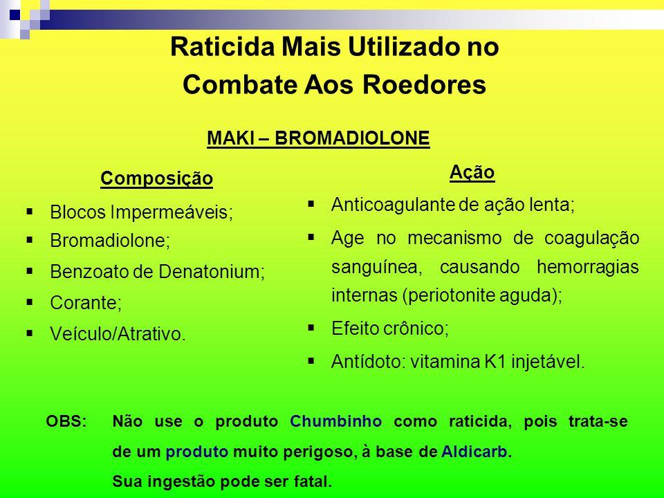 Raticida Mais Utilizado no Combate Aos Roedores Composição  Blocos Impermeáveis;  Bromadiolone;  Benzoato de Denatonium;  Corante;  Veículo/Atrat