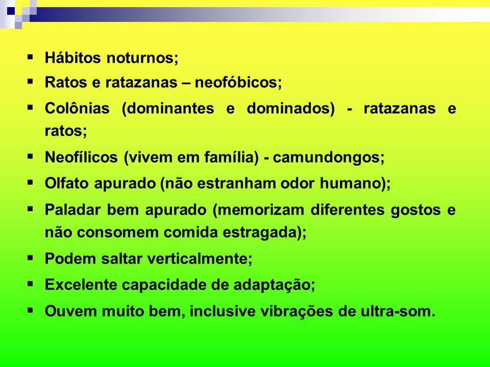  Hábitos noturnos;  Ratos e ratazanas – neofóbicos;  Colônias (dominantes e dominados) - ratazanas e ratos;  Neofílicos (vivem em família) - camun