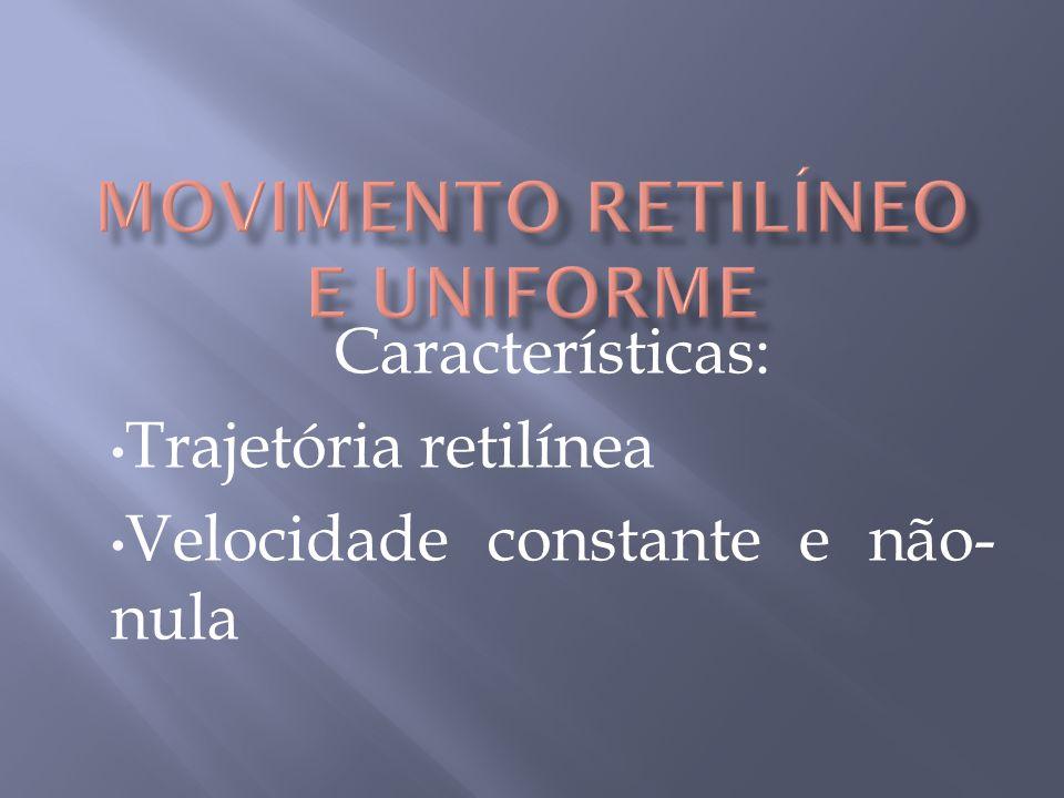 Características: Trajetória retilínea Velocidade constante e não- nula