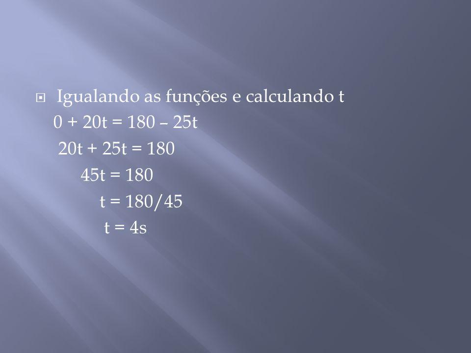  Igualando as funções e calculando t 0 + 20t = 180 – 25t 20t + 25t = 180 45t = 180 t = 180/45 t = 4s