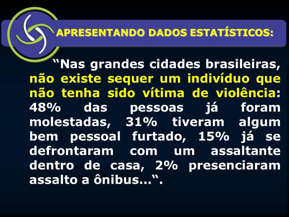 """APRESENTANDO DADOS ESTATÍSTICOS: APRESENTANDO DADOS ESTATÍSTICOS: """"Nas grandes cidades brasileiras, não existe sequer um indivíduo que não tenha sido"""