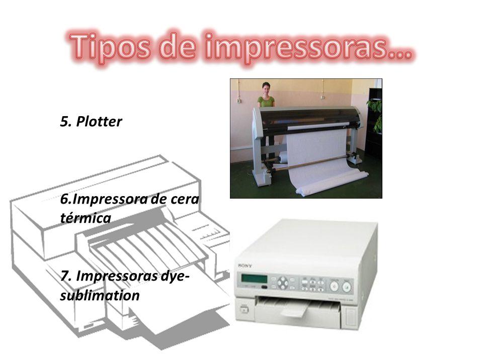 5. Plotter 6.Impressora de cera térmica 7. Impressoras dye- sublimation